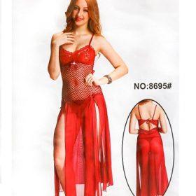 Sexy Cotton Net Long Nighty for Women - 8695